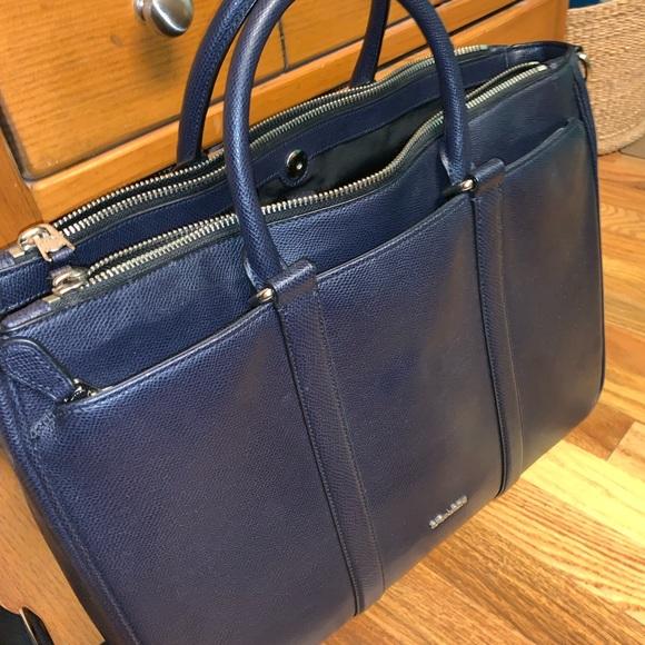 96c8a7025c Navy Blue Leather COACH Laptop//Work Bag